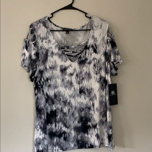 A black and white tie dye marble V-neck tee shirt